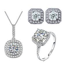 necklace wedding ring images Fashion white gold color wedding jewelry set aaa cz necklace set jpg