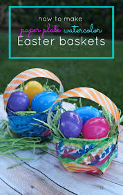 easter craft for kids diy paper plate watercolor easter baskets