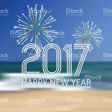 Beach Color by Happy New Year 2017 On Beach Color Background With Fireworks Stock