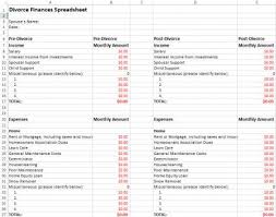 Financial Spreadsheet Divorce Finances Spreadsheet