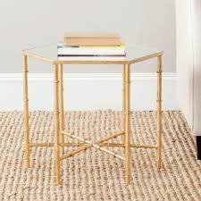Round Decorator Table by Home Decorators Collection Bella Aged Gold Glass Top End Table