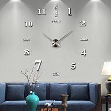 living room wall clock amazon com vangold frameless diy wall clock 3d mirror wall clock