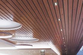 Wood Slat Ceiling System by Paraline Linear Metal Ceiling System