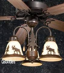 Deer Antler Ceiling Fan Light Kit 52 Lodge Rustic Cabin Country Ceiling Fan W Light Kit Moose