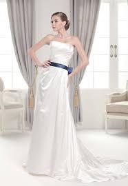 strapless simple satin wedding dress wedding dress with blue bow belt