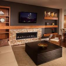 Best Stone TV Wall Images On Pinterest Basement Ideas - Design fireplace wall