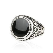 rings for men in pakistan men jewelry vintage look black enamel 925 sterling silver ring