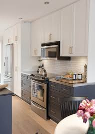 small galley kitchen design ideas with white brick backsplash also