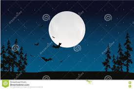 halloween full moon and bat silhouette stock vector image 72971416