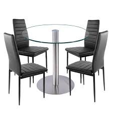 faux leather dining room chairs aliexpress com buy glass dining set round dining table with 4pcs
