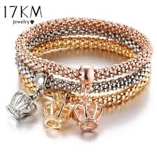 bracelet color crystal images 17km new 3pcs gold color crystal owl charm bracelets for women elephan jpg