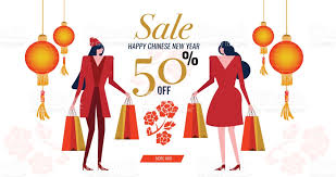 new year shopping happy new year sale dress woman with shopping