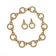large gold link necklace images Vintage piscitelli large gold cable link necklace and earring set jpg