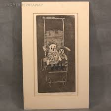 signed numbered old raggedy ann andy dolls engraving print wicker
