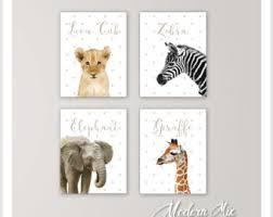 baby animals nursery decor safari nursery art baby animal