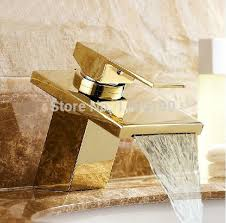 European Bathroom Fixtures Free Shipping Luxury Golden Polished Basin Waterfall Mixer Tap