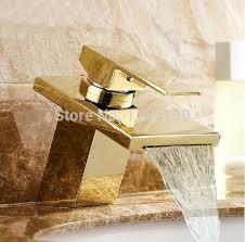 European Bathroom Fixtures Free Shipping Luxury Golden Polished Basin Waterfall Mixer Tap