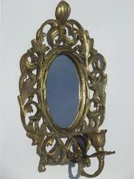 Mirror With Candle Sconces Vintage Brass Candle Holder Wall Sconce W Mirror In Ornate Oval