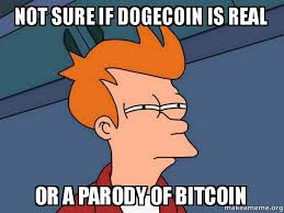 Dogecoin Meme - not sure if dogecoin is real or a parody of bitcoin after seeing