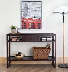 narrow entryway console table furniture of america neviah open contemporary modern espresso narrow