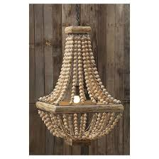 Wooden Chandelier Lighting Metal Chandelier With Wood Beads Target