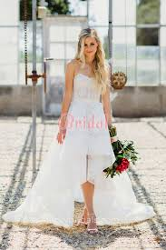 wedding dresses high ivory lace strapless sweetheart high low wedding dress
