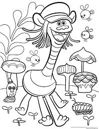 print trolls movie color troll coloring pages kolorowanki