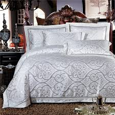 Jacquard Bedding Sets High Quality White Modal Cotton Jacquard Bedding Set Lace Edge