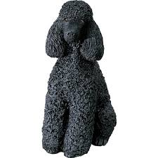sandicast sculpture small lying black poodle home