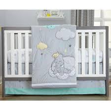 Disney Nursery Bedding Sets by Disney Baby Dumbo Dream Big Grey Aqua 3 Piece Crib Bedding Set