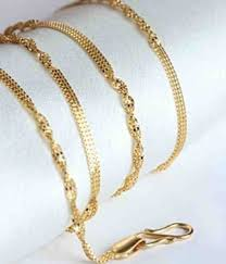 pattern gold necklace images Chain aiza flat pattern 18kt gold chain snapdeal jpg