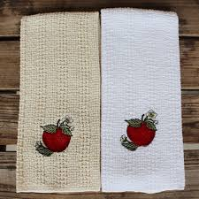 24 u2033x15 u2033 cotton kitchen towel with decorative embroidery