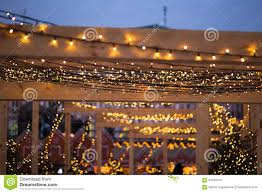 christmas street lights decorations in european stock photo