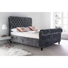 Crushed Velvet Bed Style Deep Buttoned Diamante Crushed Velvet Bed