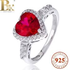 ruby sterling rings images Promotion red stone heart ring brand name solid 925 sterling jpg