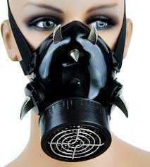 devil horn industrial spike gas mask from dysfunctional doll