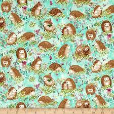 hedgehog wrapping paper hedgehog hedgehogs turquoise discount designer fabric