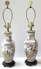 Antique Porcelain Table Lamps Pair Chinoiserie Porcelain Lamps Pagoda Shaped Shades Chinese