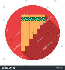 mexican pan flute icon flat style stock vector 530380612