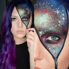 cool zipper styled galaxy inspired fantasy makeup accented with