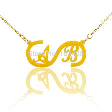 Infinity Necklace With Name Aliexpress Com Buy Infinity Necklace With Two Initials Gold