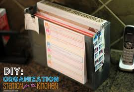 diy create a paper organization station for your kitchen counter