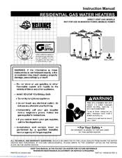 reliance water heaters 606 manuals