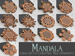 mandala cross stitch tree ornaments om01 wayvdesigns