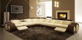 wall theme furniture brown and leather sofa and grey fur rug