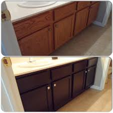 main bathroom vanity cabinet stained with general finishes java