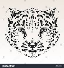 snow leopard head black silhouette stock vector 48940003