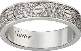 cartier alliance crb4083400 wedding band diamond paved white gold