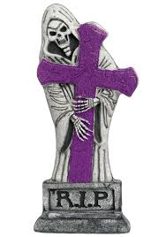 Light Up Halloween Costume by 24 Inch Purple Glitter Light Up Grave Stone