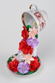 satin ribbon flowers madeheart beautiful handmade decorative flying cup with satin
